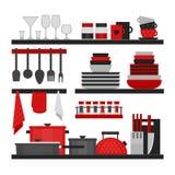 Ράφια κουζινών και μαγειρεύοντας εργαλεία Επίπεδο ύφος, διάνυσμα illustr Διανυσματική απεικόνιση