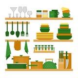 Ράφια κουζινών και μαγειρεύοντας εργαλεία Επίπεδο ύφος, διάνυσμα illustr Απεικόνιση αποθεμάτων
