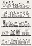 Ράφια μαγαζιό με τα αγαθά διανυσματική απεικόνιση