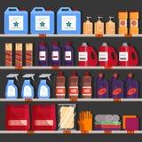 Ράφια μαγαζιό με τα οικιακά χημικά προϊόντα Η οικογένεια παρέχει το διάδρομο, προϊόντα καθαρισμού στην υπεραγορά που χρησιμοποιεί Στοκ φωτογραφίες με δικαίωμα ελεύθερης χρήσης
