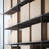 Ράφια με τα κουτιά από χαρτόνι τρισδιάστατη απόδοση Στοκ Εικόνες