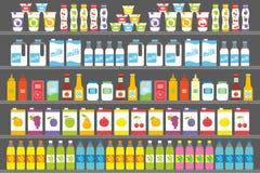 Ράφια με τα προϊόντα και τα ποτά διανυσματική απεικόνιση