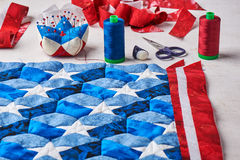 Ράψιμο του παπλώματος με τα τυποποιημένα στοιχεία της αμερικανικής σημαίας Στοκ εικόνες με δικαίωμα ελεύθερης χρήσης