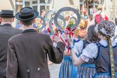 Ρέγκενσμπουργκ, Γερμανία, Mai 10, 2018, πομπή Maidult στο Ρέγκενσμπουργκ, Γερμανία Στοκ εικόνες με δικαίωμα ελεύθερης χρήσης