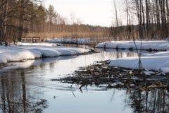 Ρέοντας μικρός ποταμός με τα χιονώδη περίχωρα την άνοιξη Στοκ φωτογραφία με δικαίωμα ελεύθερης χρήσης