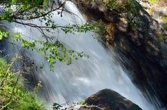 Ρέοντας νερό μεταξύ των βράχων και των φύλλων, Valle δ ` Aosta, Ιταλία Στοκ εικόνες με δικαίωμα ελεύθερης χρήσης
