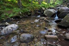 Ρέοντας ρεύμα και πέτρες βουνών Στοκ Φωτογραφίες