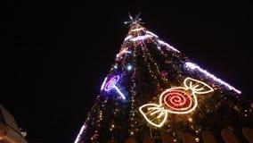 Ρήγα, Λετονία - 24 Δεκεμβρίου 2017: Οι άνθρωποι και η εορταστική αγορά Χριστουγέννων χριστουγεννιάτικων δέντρων στο θόλο τακτοποι απόθεμα βίντεο