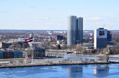 Ρήγα, Λετονία, στις 27 Μαρτίου 2018 Η σημαία της Λετονίας Στοκ Εικόνες