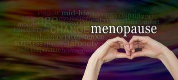 Ρίξτε μια ματιά στα σημάδια και τα συμπτώματα της εμμηνόπαυσης Στοκ φωτογραφία με δικαίωμα ελεύθερης χρήσης