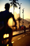 Ρίο ντε Τζανέιρο Βραζιλία παραλιών Ipanema πεζοδρομίων πορειών ποδηλάτων Στοκ Εικόνα