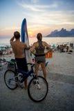 Ρίο ντε Τζανέιρο ηλιοβασιλέματος Βραζιλιάνων Arpoador Στοκ φωτογραφίες με δικαίωμα ελεύθερης χρήσης
