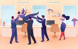 Ρίψη ομάδας επιχειρηματιών στο συνάδελφο αέρα, επιτυχία ελεύθερη απεικόνιση δικαιώματος