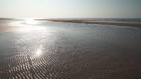 Ραβδωτή άμμος - παραλία κόλπων της θάλασσας της Βαλτικής με την άσπρη άμμο στο ηλιοβασίλεμα - βίντεο 4K με την αργή μετακίνηση κα φιλμ μικρού μήκους