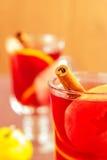 Ραβδί κανέλας σε ένα ποτήρι θερμαμένου του φρούτα κρασιού Στοκ Φωτογραφίες