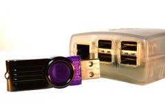 Ραβδί μνήμης USB και υπολογιστής ενιαίος-πινάκων σμέουρων pi Στοκ Εικόνα