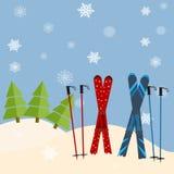 Ραβδί σκι από το χιόνι πριν από μια ερυθρελάτη πρόσκληση στο σκι σχετικά με Στοκ Εικόνες