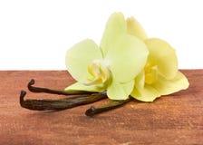 Ραβδιά και ορχιδέες βανίλιας στοκ φωτογραφία με δικαίωμα ελεύθερης χρήσης
