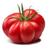Ραβδωτή ντομάτα οικογενειακών κειμηλίων με sepal, πορείες στοκ φωτογραφίες