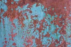 Ραγισμένη μπλε ζωγραφική στην επιφάνεια μετάλλων Στοκ εικόνες με δικαίωμα ελεύθερης χρήσης