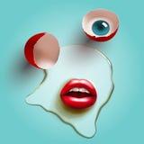 Ραγισμένο αυγό με τα χείλια διανυσματική απεικόνιση