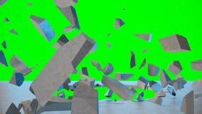 Ραγισμένο γήινο αφηρημένο υπόβαθρο Η έκρηξη καταστρέφει τον τοίχο, σπασμένος συμπαγής τοίχος Μύγα τοίχων στα κομμάτια Τρύπα στον  ελεύθερη απεικόνιση δικαιώματος