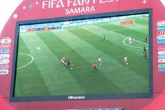 Ραδιοφωνική μετάδοση της αντιστοιχίας Δανία-Αυστραλία στην οθόνη στη ζώνη ανεμιστήρων του Παγκόσμιου Κυπέλλου 2018 Στοκ εικόνες με δικαίωμα ελεύθερης χρήσης