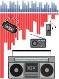 ραδιόφωνο τσεπών, στερεοφωνικό συγκρότημα, φορέας mp3 στοκ εικόνα