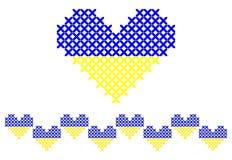 Ραμμένη σταυρός καρδιά και άνευ ραφής σύνορα Στοκ Φωτογραφία