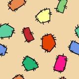 Ραμμένο doodles ζωηρόχρωμο άνευ ραφής σχέδιο μπαλωμάτων Διανυσματική τυπωμένη ύλη διανυσματική απεικόνιση