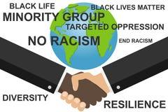 Ρατσισμός στάσεων Χειραψία δύο ατόμων Έμβλημα για να καταπολεμήσει το ρατσισμό και το γένος απεικόνιση αποθεμάτων