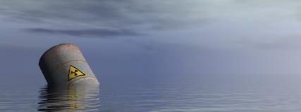 Ραδιενεργό βαρέλι στον ωκεανό - τρισδιάστατο δώστε Στοκ Φωτογραφίες