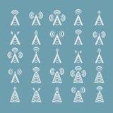 Ραδιο πύργος ή ασύρματα σύμβολα πύργων  Στοκ Εικόνες