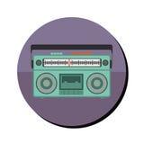 Ραδιο στερεοφωνικό συγκρότημα με το κασετόφωνο στο στρογγυλό πλαίσιο απεικόνιση αποθεμάτων
