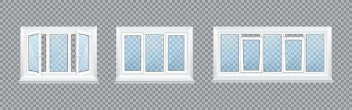 Ρεαλιστικά διαφανή πλαστικά παράθυρα γυαλιού με τις στρωματοειδείς φλέβες και τις ζώνες παραθύρων ελεύθερη απεικόνιση δικαιώματος