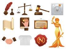 Ρεαλιστικά εικονίδια δικαιοσύνης και διαταγής νόμου καθορισμένα Στοκ φωτογραφία με δικαίωμα ελεύθερης χρήσης