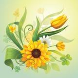 Ρεαλιστικά κίτρινα λουλούδια και πράσινα φύλλα Στοκ Εικόνα