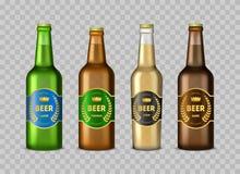 Ρεαλιστικά λεπτομερή τρισδιάστατα μπουκάλια μπύρας γυαλιού καθορισμένα διάνυσμα διανυσματική απεικόνιση