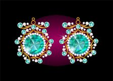Ρεαλιστικά σκουλαρίκια ή εξαρτήματα κοσμήματος περιδεραίων κρεμαστών κοσμημάτων Χρυσός Στοκ εικόνα με δικαίωμα ελεύθερης χρήσης