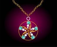 Ρεαλιστικά σκουλαρίκια ή εξαρτήματα κοσμήματος περιδεραίων κρεμαστών κοσμημάτων Χρυσός Στοκ Εικόνες