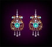 Ρεαλιστικά σκουλαρίκια ή εξαρτήματα κοσμήματος περιδεραίων κρεμαστών κοσμημάτων Χρυσός Στοκ εικόνες με δικαίωμα ελεύθερης χρήσης