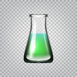 Ρεαλιστικά χημικά εργαστηριακά γυαλικά ή διαφανής φιάλη γυαλιού κουπών με το πράσινο υγρό απεικόνιση αποθεμάτων