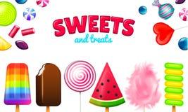 Ρεαλιστικές γλυκές καραμέλες Η καραμέλα στροβίλου, ο ανάμεικτος κύκλος lollipops, dragee και οι σοκολάτες, ζελατίνα φρούτων, ζάχα ελεύθερη απεικόνιση δικαιώματος