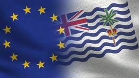 Ρεαλιστικές μισές σημαίες της ΕΕ και Βρετανικών Εδαφών Ινδικού Ωκεανού από κοινού στοκ εικόνες με δικαίωμα ελεύθερης χρήσης