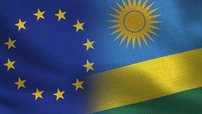 Ρεαλιστικές μισές σημαίες της ΕΕ και της Ρουάντα από κοινού απεικόνιση αποθεμάτων