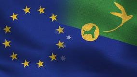 Ρεαλιστικές μισές σημαίες της ΕΕ και του Νησιού των Χριστουγέννων από κοινού απεικόνιση αποθεμάτων