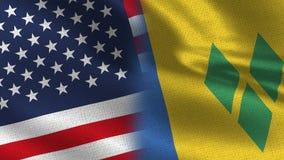 Ρεαλιστικές μισές σημαίες των ΗΠΑ και Αγίου Vincent από κοινού ελεύθερη απεικόνιση δικαιώματος