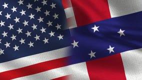 Ρεαλιστικές μισές σημαίες των ΗΠΑ και Ολλανδικών Αντιλλών από κοινού στοκ εικόνες