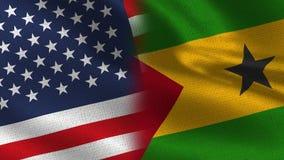 Ρεαλιστικές μισές σημαίες των ΗΠΑ και του Σάο Τομέ και Πρίντσιπε από κοινού στοκ φωτογραφία με δικαίωμα ελεύθερης χρήσης