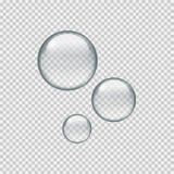 Ρεαλιστικές πτώσεις νερού κύκλων στο διαφανές υπόβαθρο ελεύθερη απεικόνιση δικαιώματος